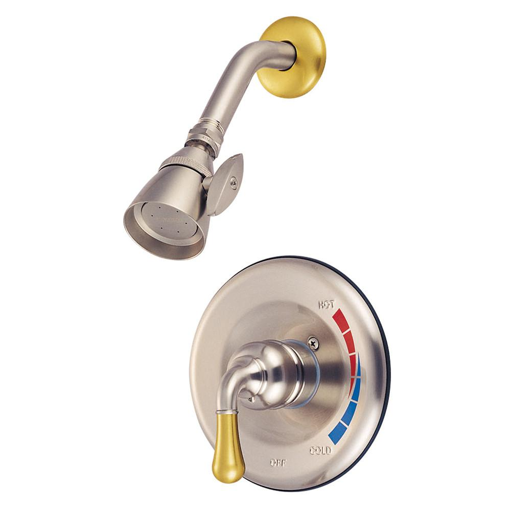 Kingston Satin Nickel/Polished Brass Single Handle Shower Only Faucet KB639SO