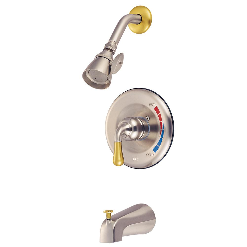 Satin Nickel/Polished Brass Magellan tub and shower combination faucet KB639