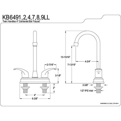 "Kingston Brass Chrome Two Handle 4"" Centerset Bar Prep Sink Faucet KB6491LL"