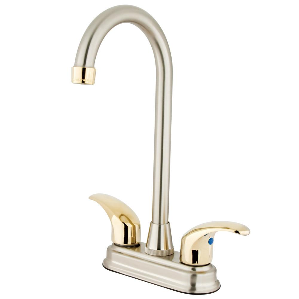 "Kingston Satin Nickel/Polished Brass 2 dl 4"" Centerset Bar Sink Faucet KB6499LL"