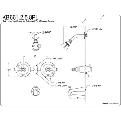 Kingston Brass Chrome 2 Handle Tub and Shower Combination Faucet KB661PL