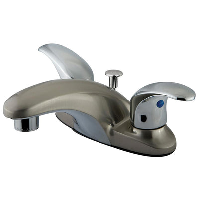 "Kingston Satin Nickel / Chrome 4"" Centerset Bathroom Faucet w Pop-up KB6627LL"