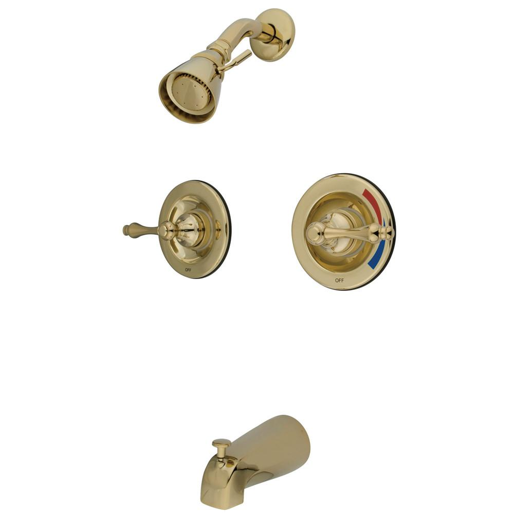 Kingston Brass Polished Brass 2 Handle Tub and Shower Combination Faucet KB662AL