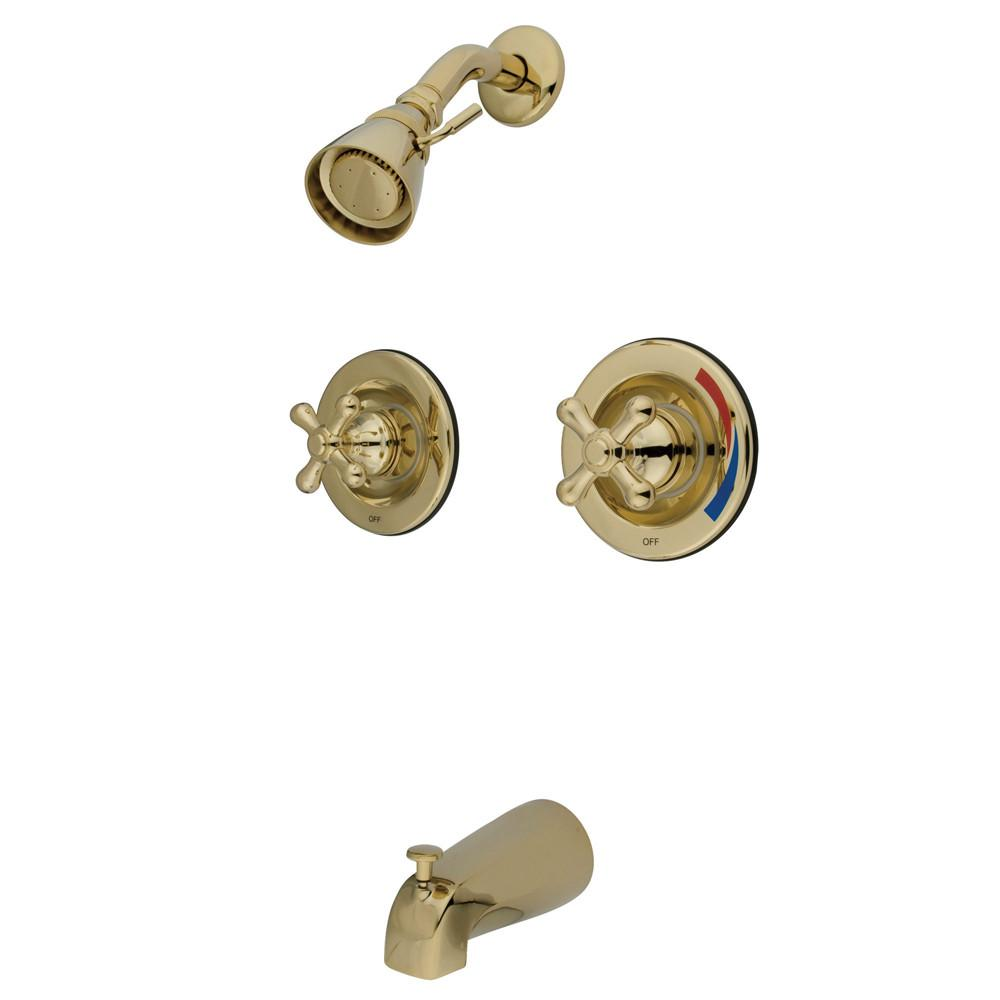 Kingston Brass Polished Brass 2 Handle Tub and Shower Combination Faucet KB662AX