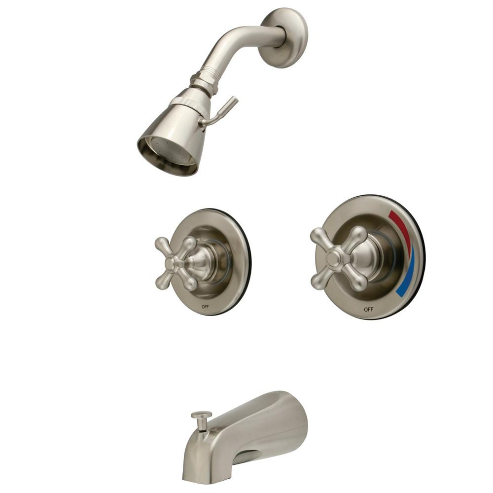 Kingston Brass Satin Nickel 2 Handle Tub and Shower Combination Faucet KB668AX