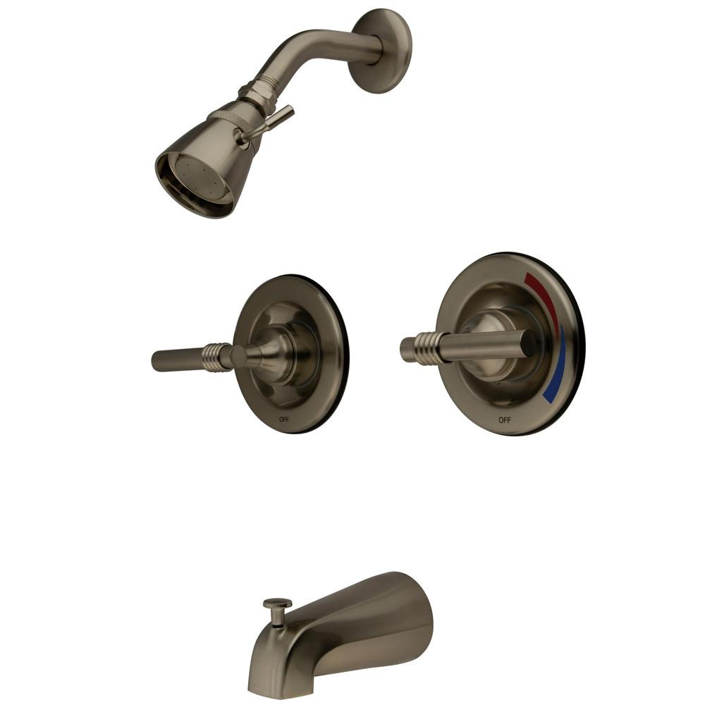 Kingston Brass Satin Nickel 2 Handle Tub and Shower Combination Faucet KB668ML