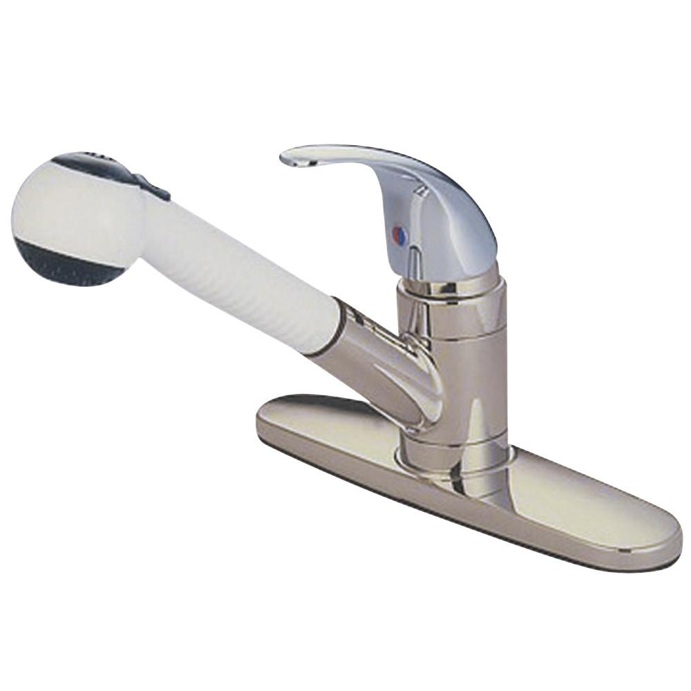 Kingston Chrome Single Handle Pull-Out Kitchen Faucet with Satin Spray KB6707LL