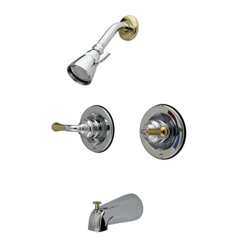 Kingston Chrome / Polished Brass 2 Handle Tub & Shower Combination Faucet KB674