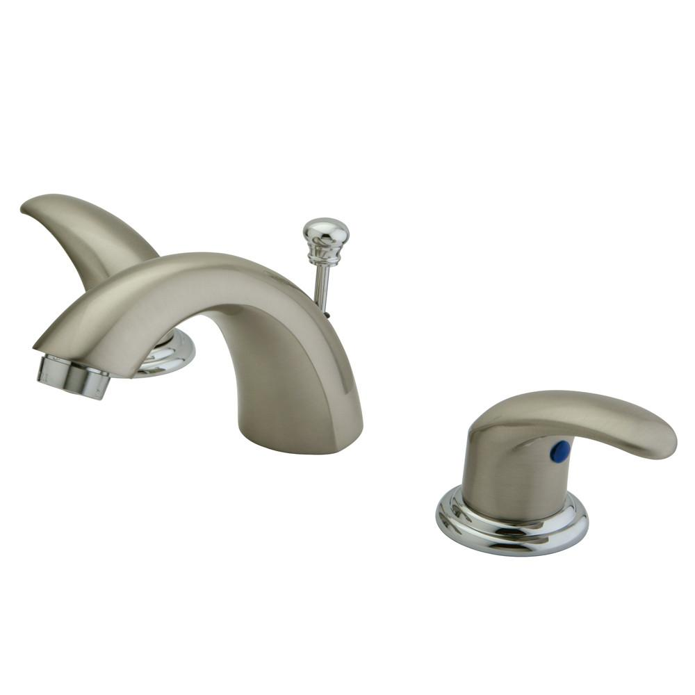 "Kingston Satin Nickel/Chrome 4""-8"" Mini Widespread Bathroom Faucet KB6957LL"