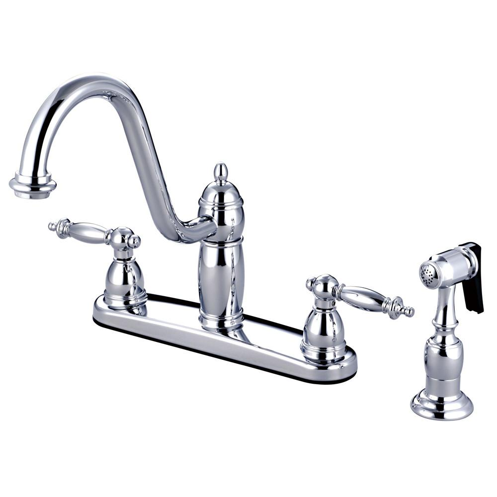 "Kingston Brass Chrome Templeton 8"" Kitchen Faucet With Brass Sprayer KB7111TLBS"