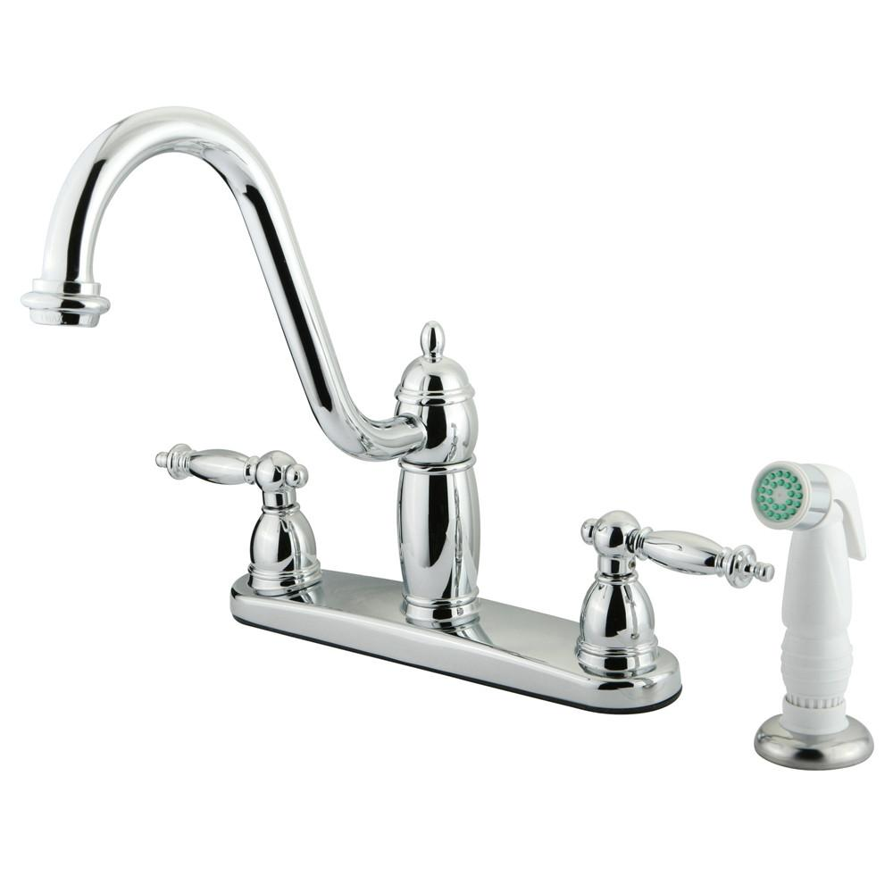 "Kingston Brass Chrome Templeton 8"" Kitchen Faucet With White Sprayer KB7111TL"