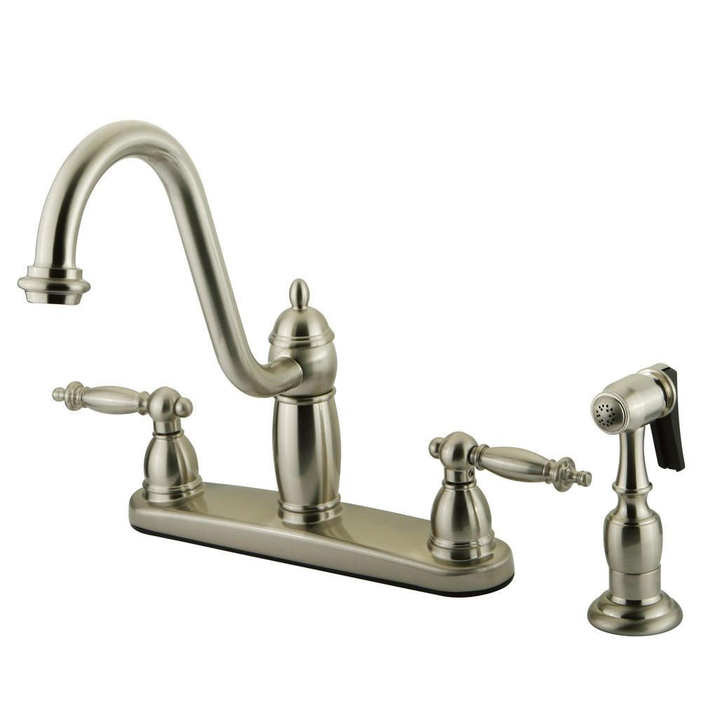 "Kingston Satin Nickel Templeton 8"" Kitchen Faucet With Brass Sprayer KB7118TLBS"