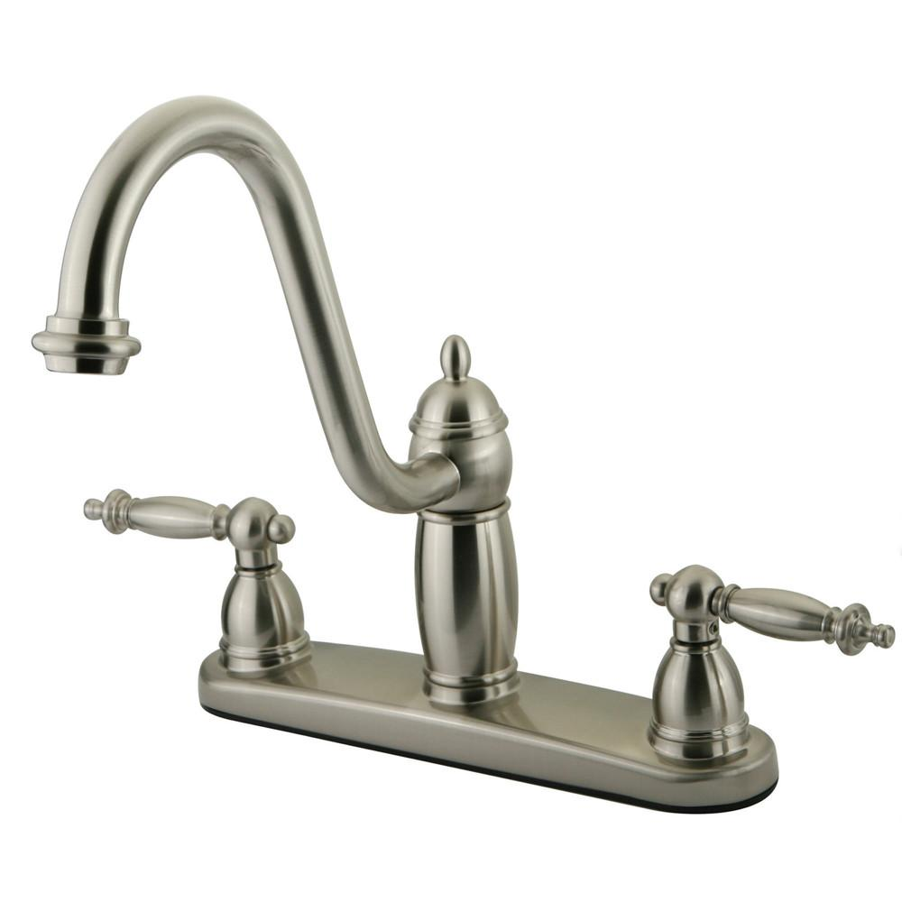 "Kingston Satin Nickel Templeton 8"" Kitchen Faucet Without Sprayer KB7118TLLS"