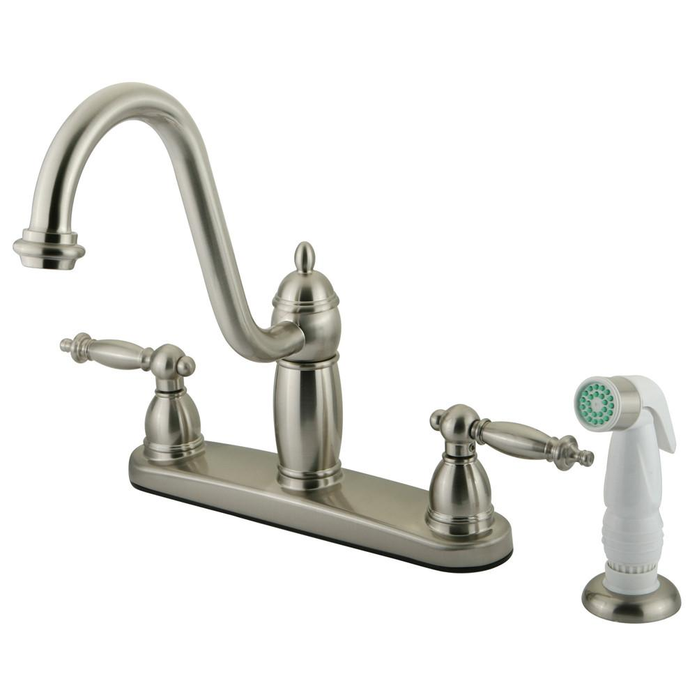 "Kingston Satin Nickel Templeton 8"" Kitchen Faucet With White Sprayer KB7118TL"