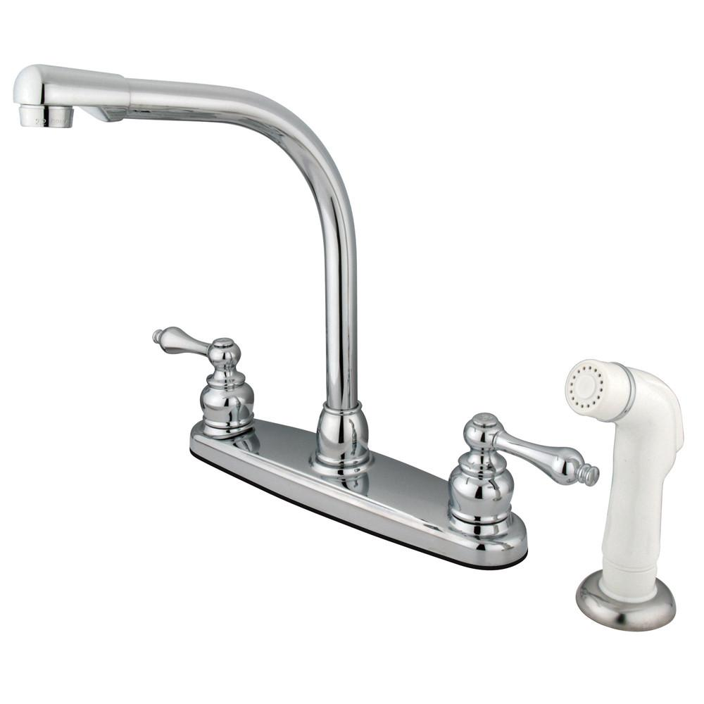 Kingston Brass Chrome High Arch Kitchen Faucet With Sprayer KB711AL