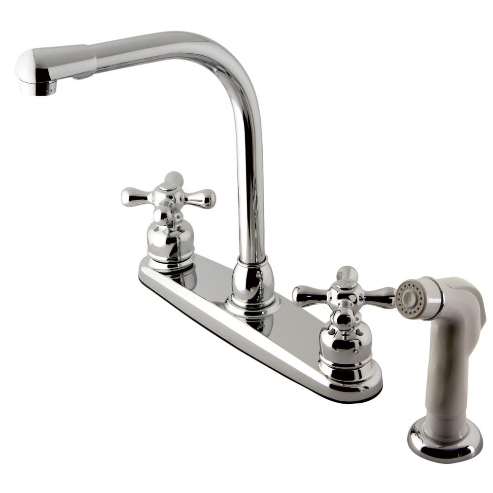 Kingston Brass Chrome High Arch Kitchen Faucet With White Sprayer KB711AX