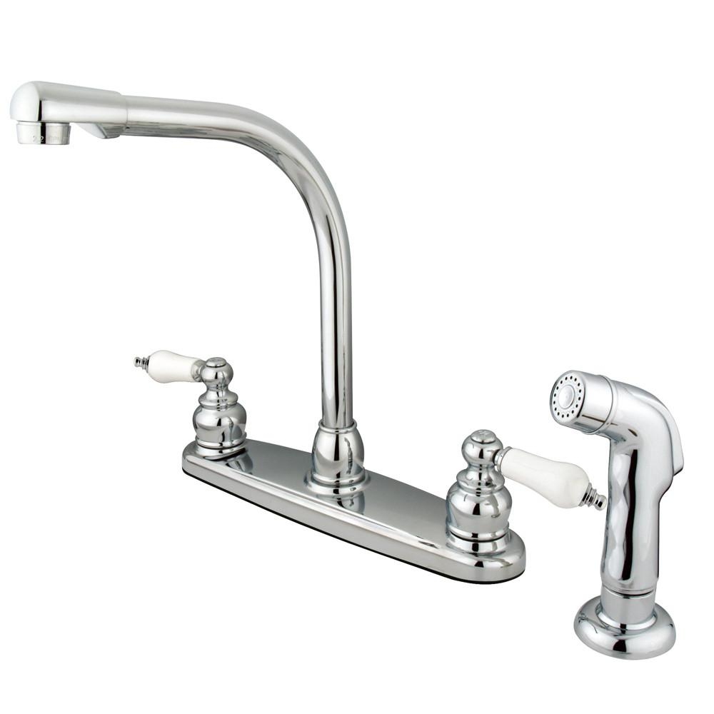 Kingston Brass Chrome High Arch Kitchen Faucet With Sprayer KB711SP