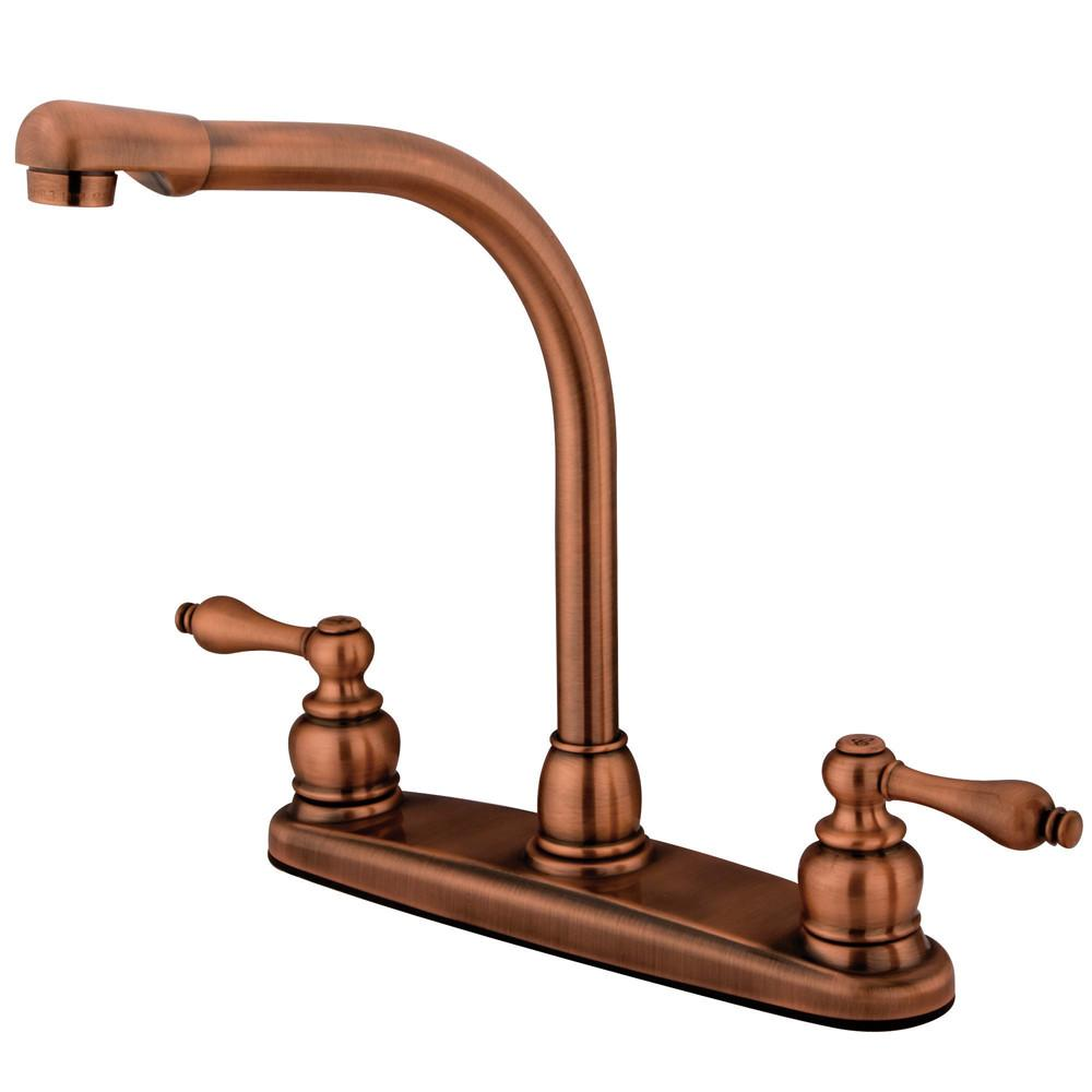 Kingston Brass Antique Copper High Arch Kitchen Faucet KB716ALLS