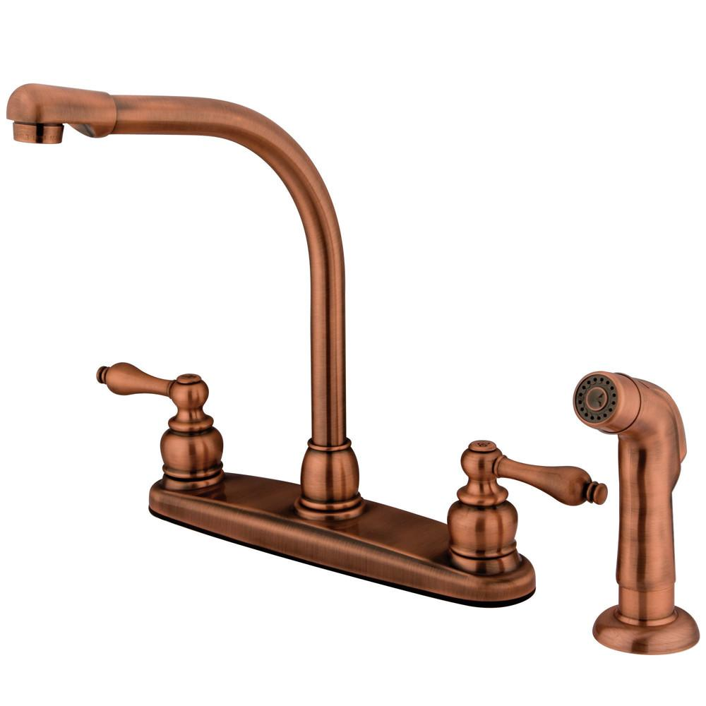 Kingston Brass Antique Copper High Arch Kitchen Faucet With Sprayer KB716ALSP