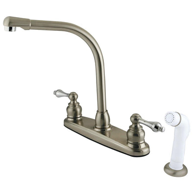 Kingston Satin Nickel / Chrome High Arch Kitchen Faucet With Sprayer KB717AL