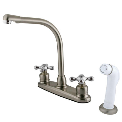 Kingston Brass Chrome High Arch Kitchen Faucet With White Sprayer KB717AX