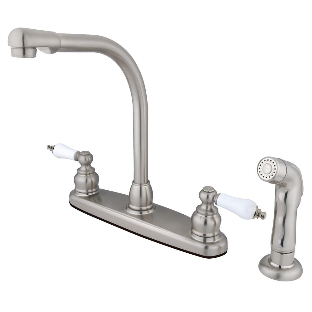 Kingston Brass Satin Nickel High Arch Kitchen Faucet With Sprayer KB718SP