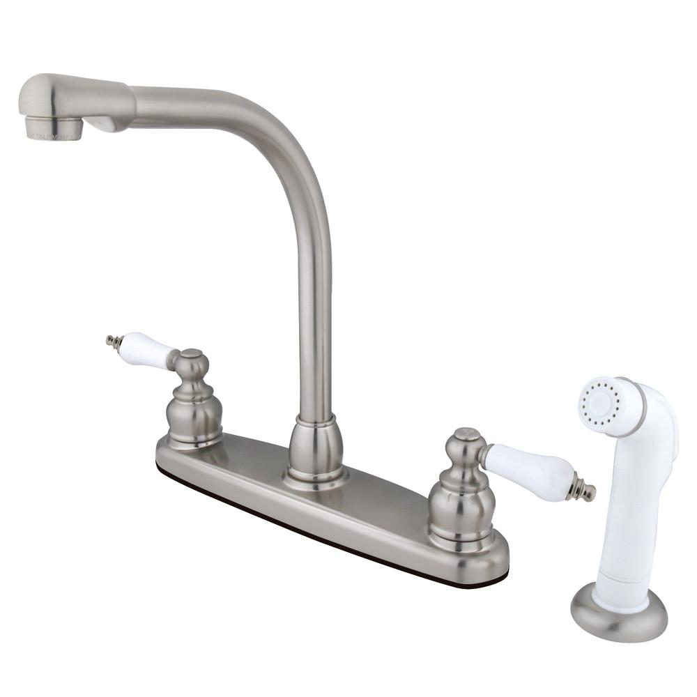 Kingston Brass Satin Nickel High Arch Kitchen Faucet With Sprayer KB718