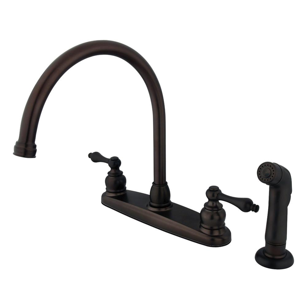 Kingston Oil Rubbed Bronze 2 Handle Goose Neck Kitchen Faucet w Spray KB725ALSP