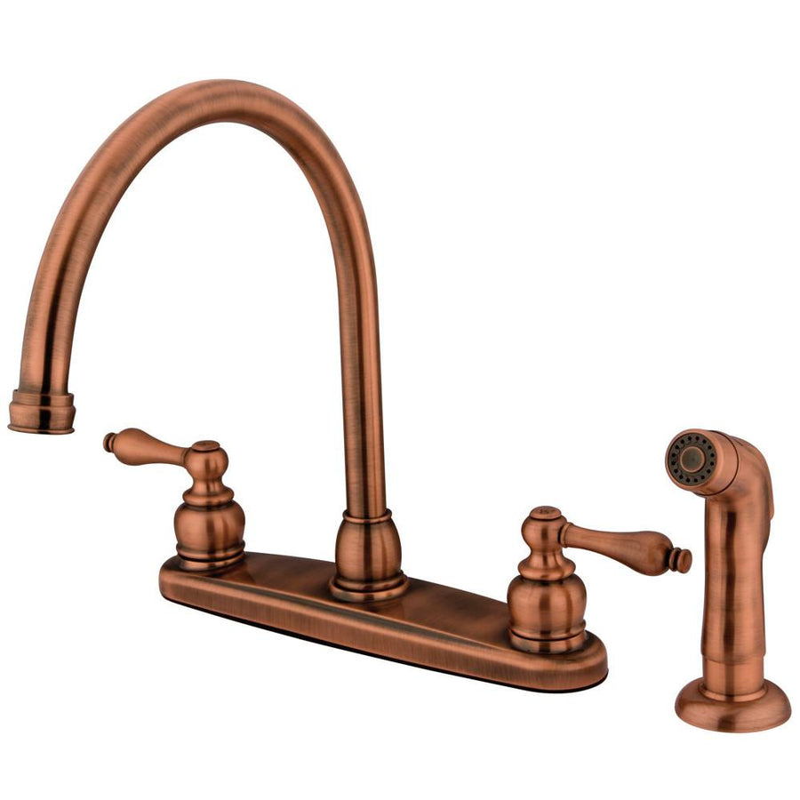 Medium image of kingston antique copper two handle goose neck kitchen faucet w sprayer kb726alsp