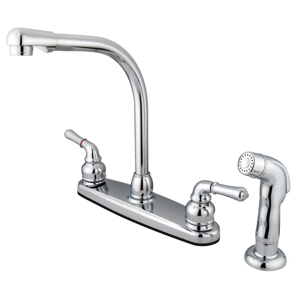 "Kingston Brass Chrome 8"" Centerset High Arch Kitchen Faucet With Sprayer KB751SP"