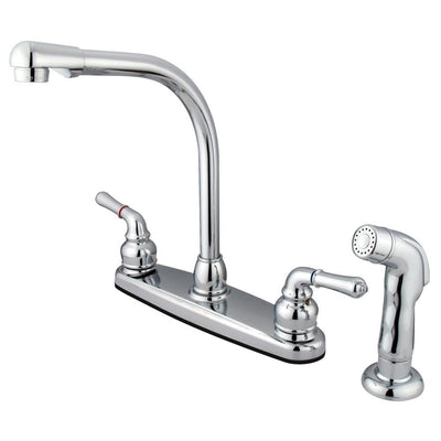 high arch kitchen faucet kingston brass chrome 8 quot centerset high arch kitchen faucet with spray faucetlist com 5872