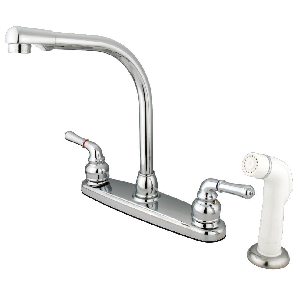 "Kingston Brass Chrome 8"" Centerset High Arch Kitchen Faucet With Sprayer KB751"
