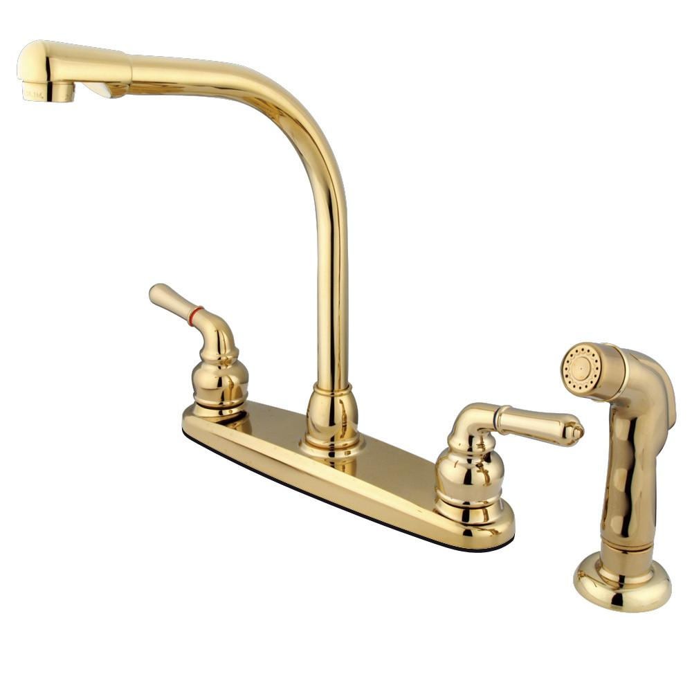 "Kingston Polished Brass 8"" Centerset High Arch Kitchen Faucet w Sprayer KB752SP"