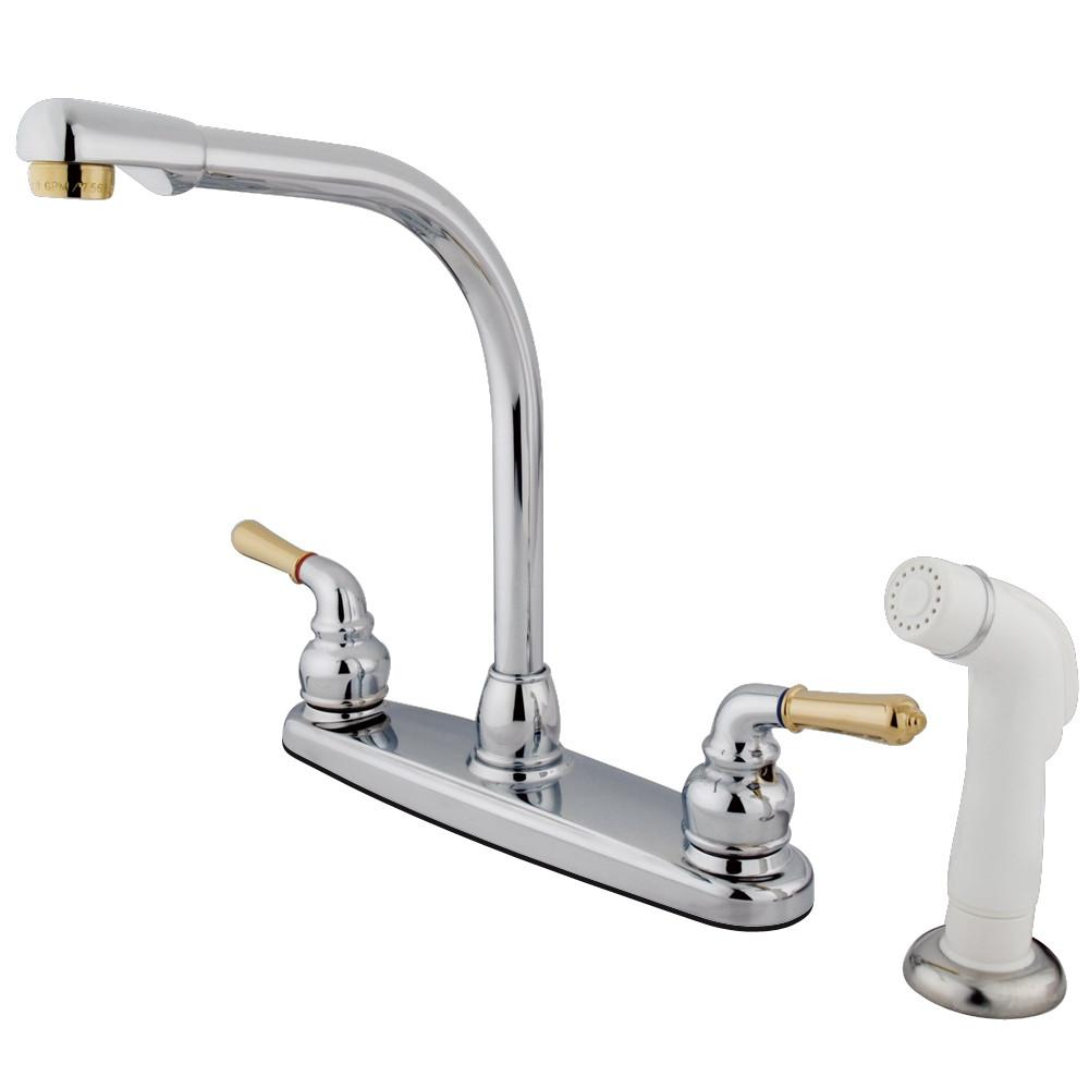 "Kingston Chrome / Polished Brass 8"" High Arch Kitchen Faucet With Sprayer KB754"