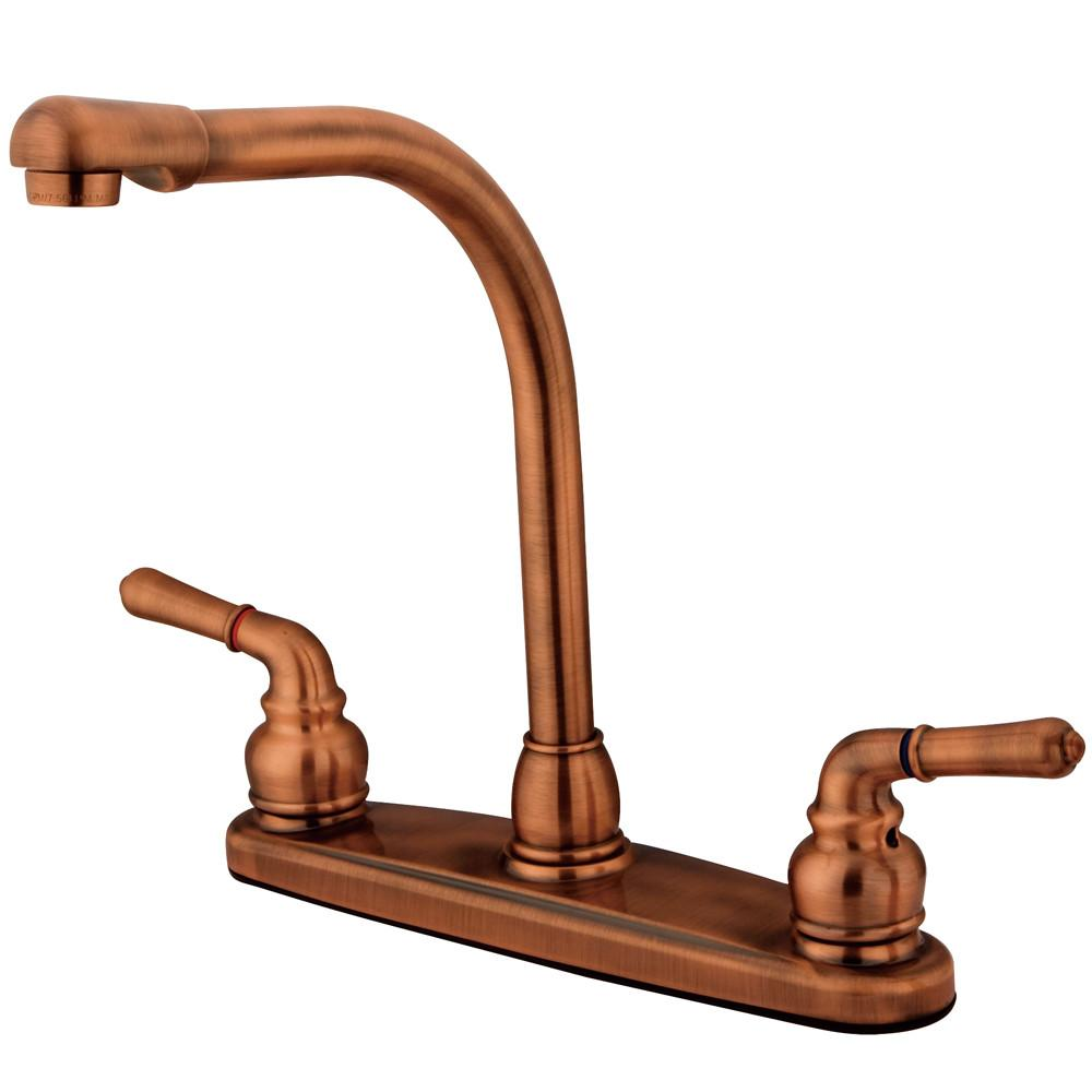 "Kingston Brass Antique Copper Magellan high arch 8"" kitchen faucet KB756LS"