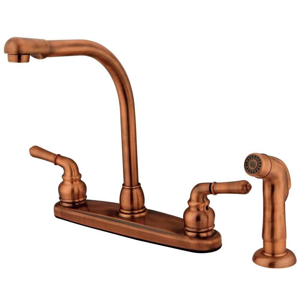 "Kingston Brass Antique Copper 8"" High Arch Kitchen Faucet With Sprayer KB756SP"