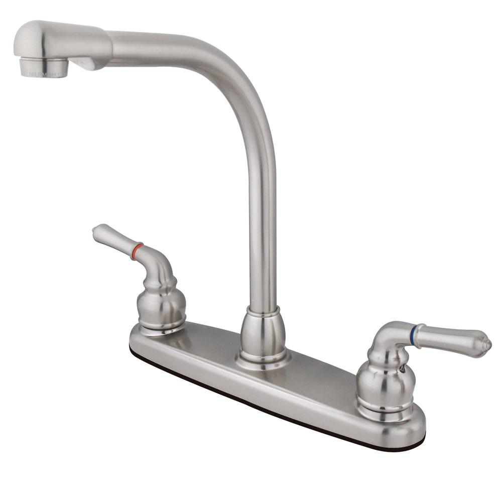 "Kingston Brass Satin Nickel Magellan high arch 8"" kitchen faucet KB758LS"