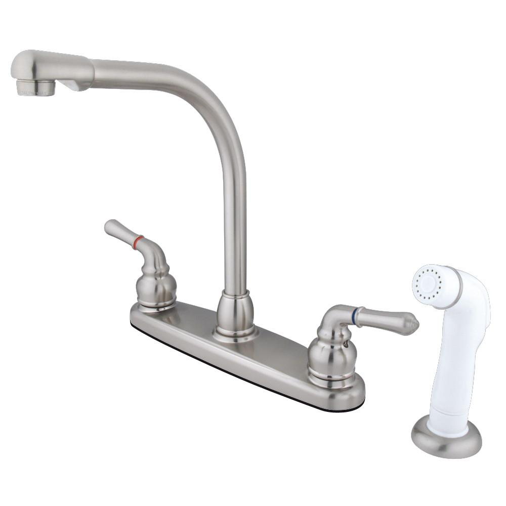 "Kingston Brass Satin Nickel 8"" High Arch Kitchen Faucet With Sprayer KB758"