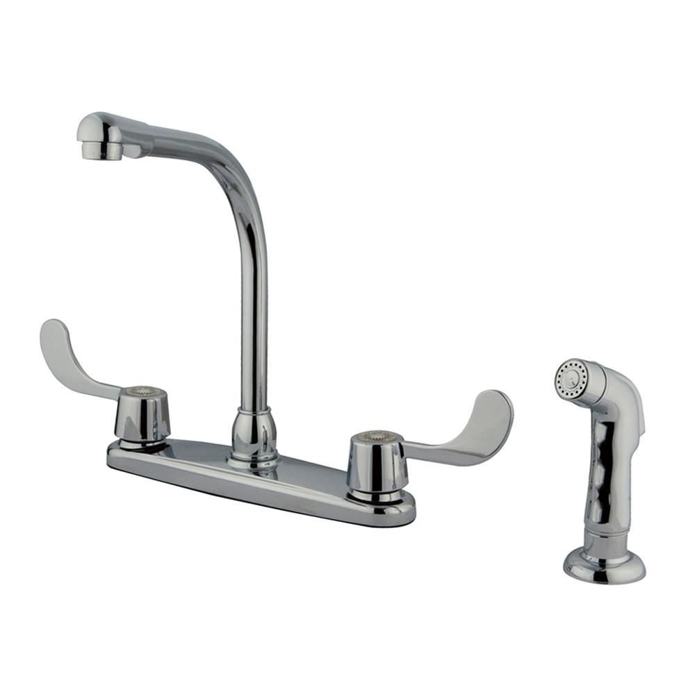 "Kingston Brass Chrome 8"" Kitchen Faucet With Blade Handles KB762SP"