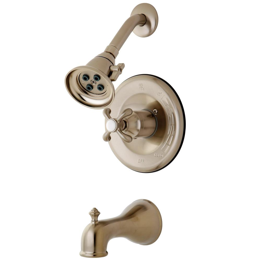 Kingston Satin Nickel French Country Tub & Shower Combination Faucet KB7638TX