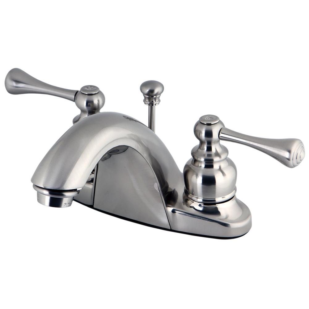"Kingston English Country Satin Nickel 4"" Centerset Bathroom Faucet KB7648BL"