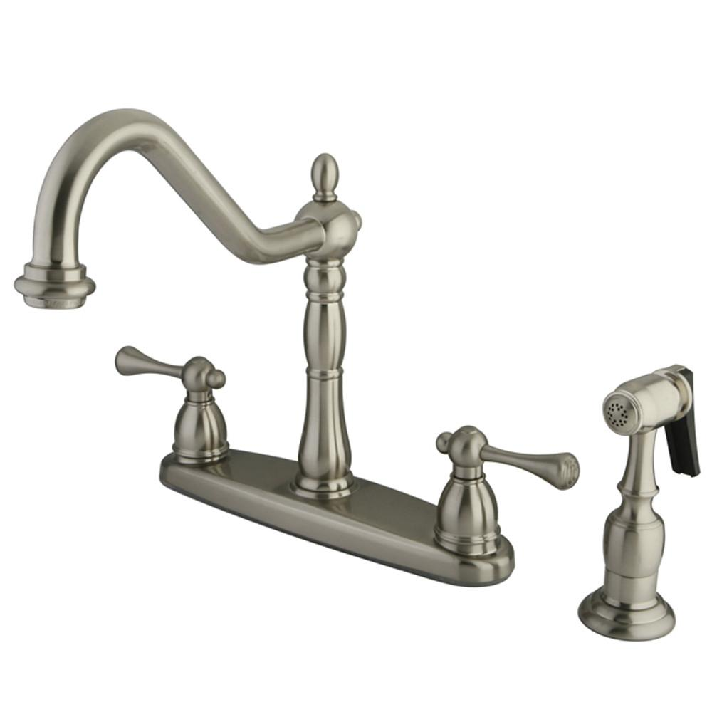 "Kingston Brass Satin Nickel Double Handle 8"" Kitchen Faucet w sprayer KB7758BLBS"