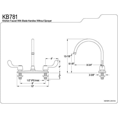 "Kingston Brass Chrome 8"" Centerset Kitchen Faucet With two Blade Handles KB781"