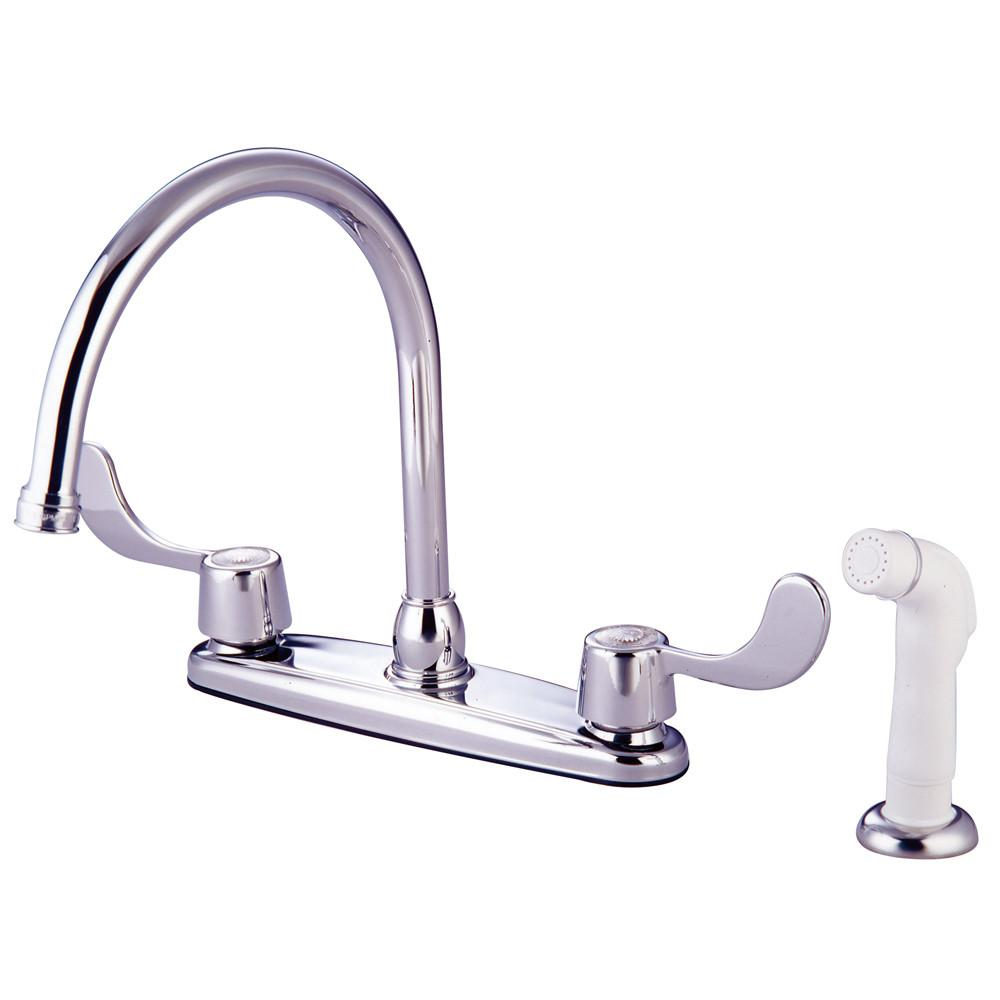 "Kingston Brass Chrome 8"" Centerset Kitchen Faucet With 2 Blade Handles KB782"