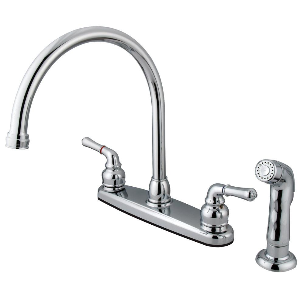 Kingston Brass Chrome Double Handle Kitchen Faucet with Side Sprayer KB791SP