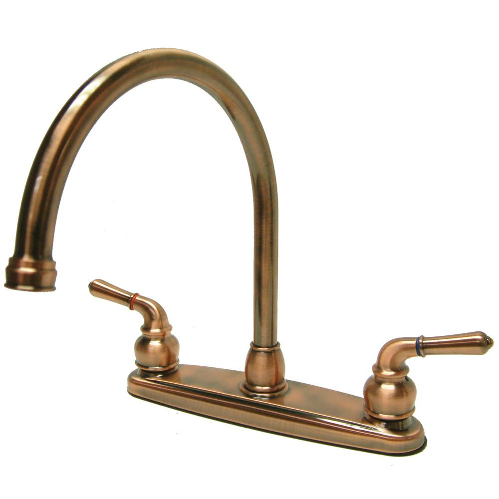 "Kingston Brass Antique Copper Magellan high arch 8"" kitchen faucet KB796LS"