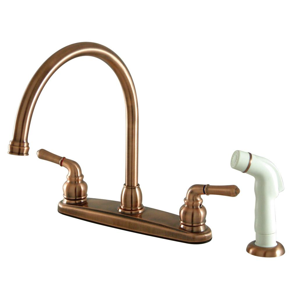"Kingston Antique Copper Magellan high arch 8"" kitchen faucet w/sprayer KB796"