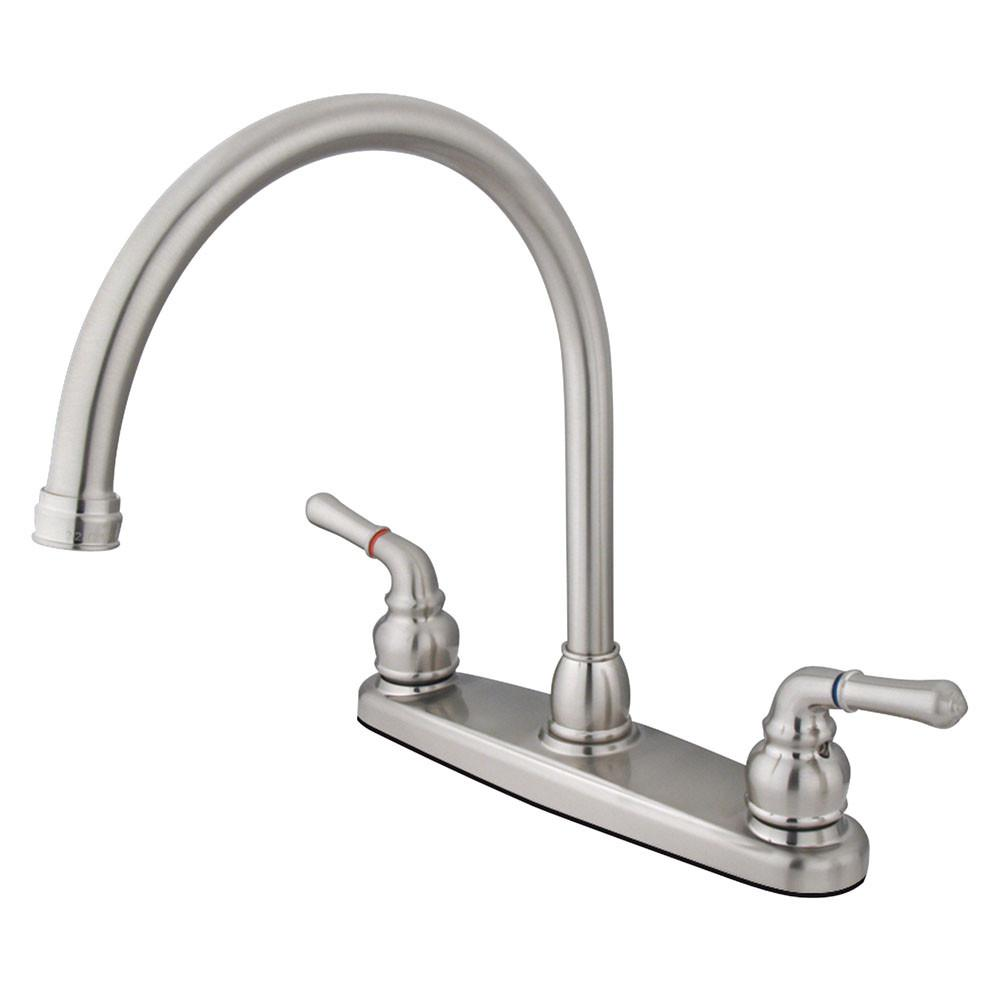 "Kingston Satin Nickel Magellan high arch 8"" kitchen faucet KB798LS"
