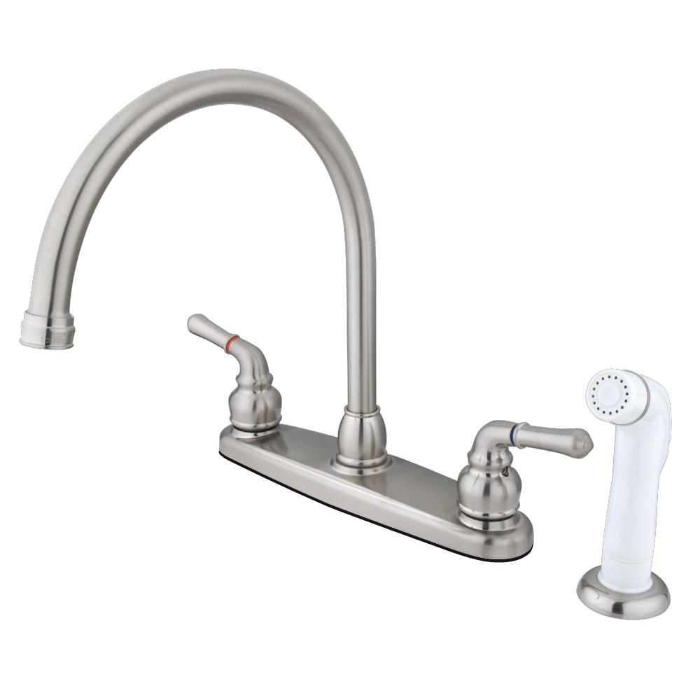 Kingston Satin Nickel Double Handle Goose Neck Kitchen Faucet w spray KB798