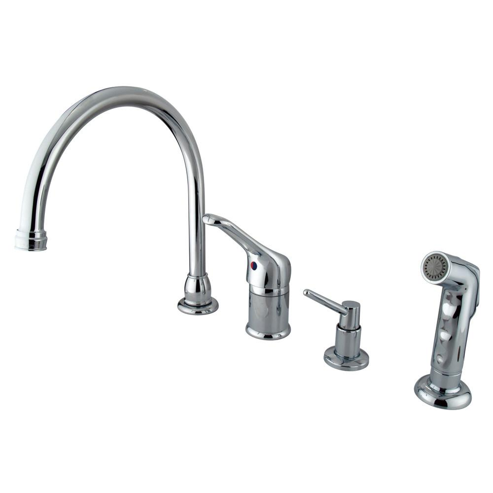 Kingston Chrome Single Handle Kitchen Faucet with Soap Dispenser & spray KB811K1
